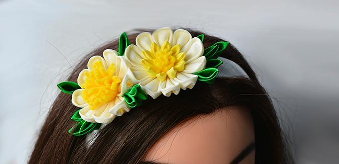 Pandahall Tutorial - How to Make a Yellow Ribbon Flower Headband for Girls