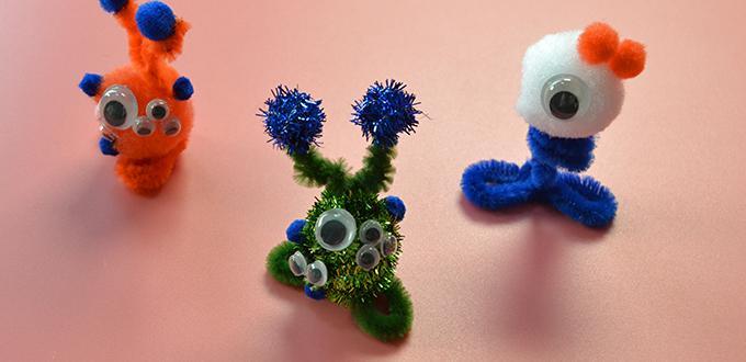 Children's Day Gifts Idea-How to Make Easy Little Chenille Stem Monsters for Kids