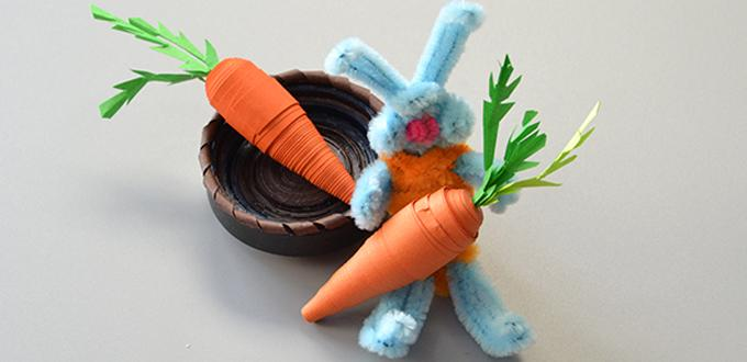 Kids DIY Craft – How to Make a Basket of Cute Quilling Paper Carrots