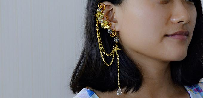 Pandahall Tutorial on How to Make Golden Wire Wrapped and Chain Earrings