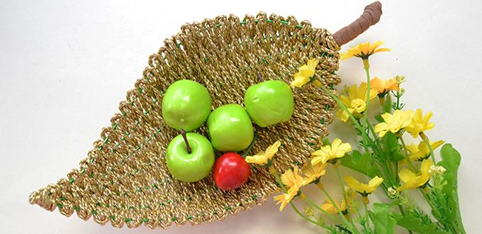 Home Décor Idea   How To Make A Gold PU Leather Cord Wrapped Leaf Fruit Bowl