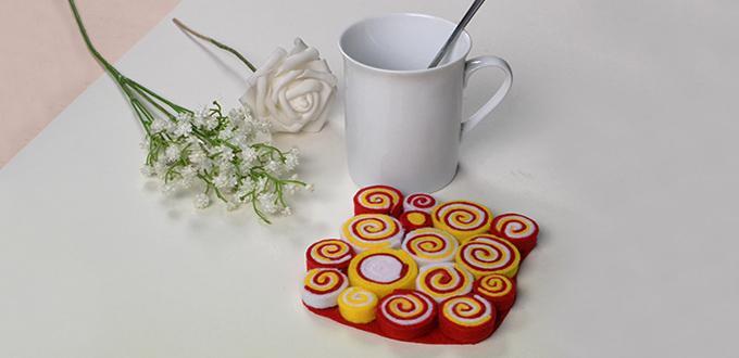 Easy Felt Craft Idea--How to Make Easy Felt Tea Coaster for Kids