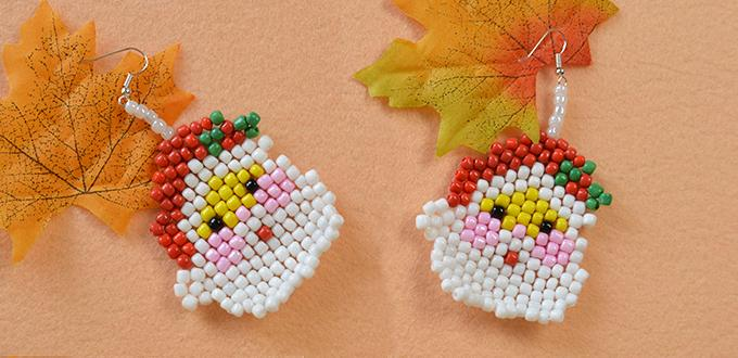 Earring Making Ideas--How to Make Cute Santa Claus Bead Stitch Earrings for Girls