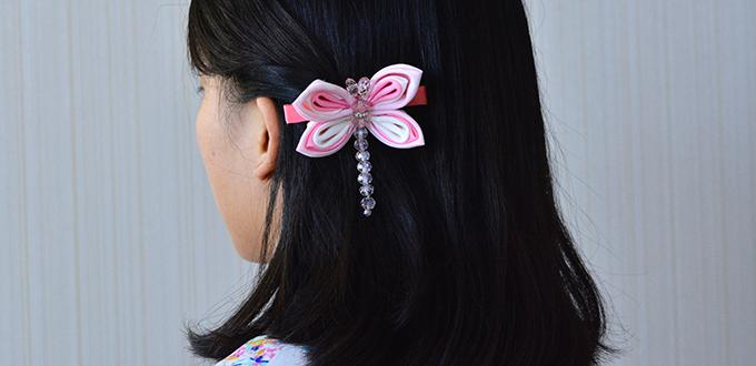 How to Make Cute Dragonfly Hair Clip Made from Grosgrain Ribbon and Glass Beads