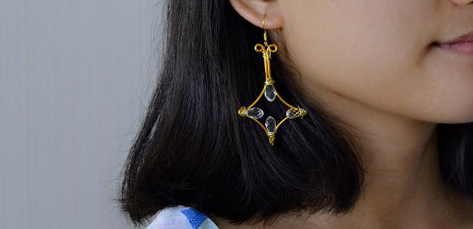 Easy DIY Project - How to Make a Pair of Rhombus Gold Wire Wrapped Earrings
