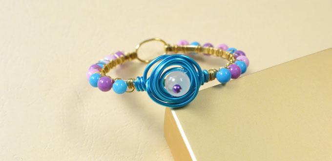 Pandahall Tutorial on How to Make a Wire Wrapped Beading Bangle Bracelet