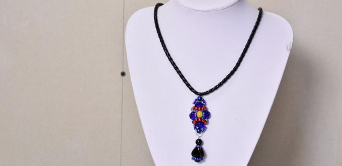 How to Make a Handmade Blue Bead Pendant Necklace with Black Leather Cords