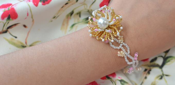 Pandahall Tutorial on How to Make Seed Bead Flower Bracelet
