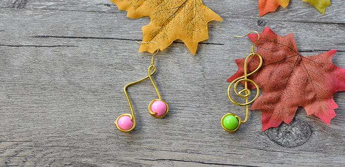 How to Make a Pair of Stylish Gold Wire Wrapped Music Note Earrings with Acrylic Beads