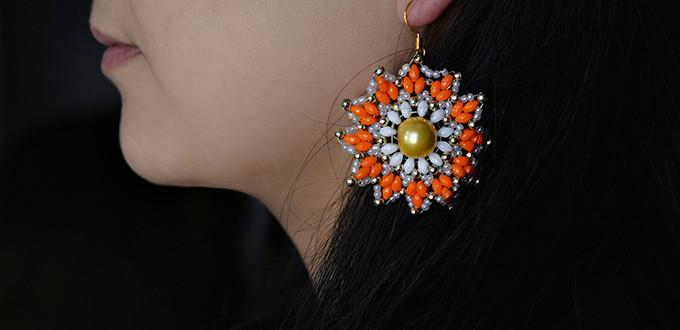 How to Make Colorful 2-Hole Seed Bead Flower Earrings for Girls