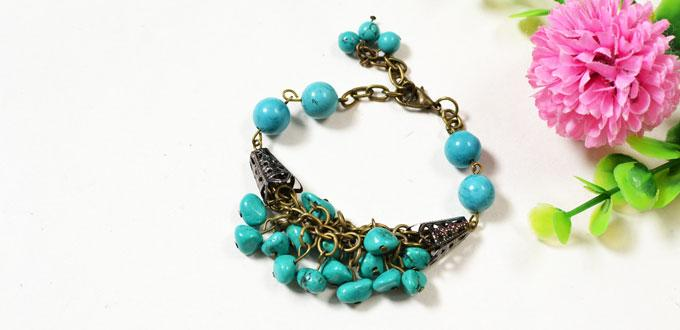 Easy Pandahall Tutorial - How to Make a Handmade Turquoise Bead Bracelet