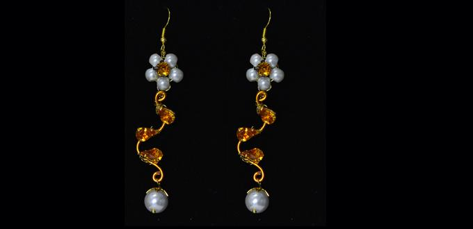 How to Make Wire Wrapped Flower Beaded Dangle Earrings