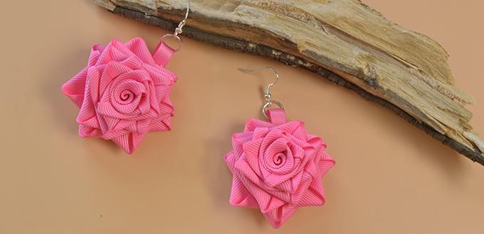 How to Make Rose Flower Dangle Earrings with Grosgrain Ribbon