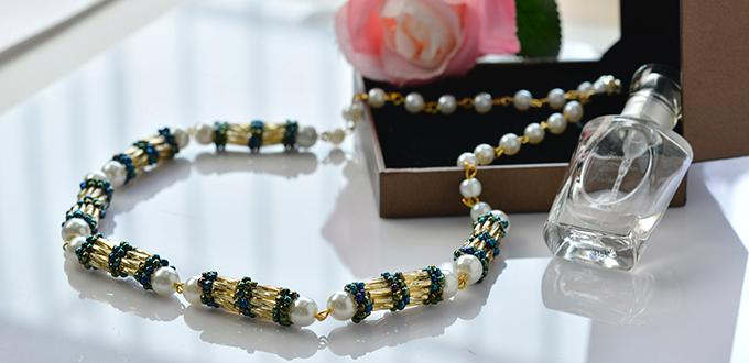 How to Make a Golden Bugle Seed Bead, Blue Seed Bead and White Pearl Necklace