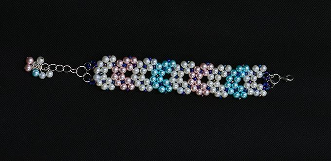 PandaHall Free Tutorial – How to Make a Pearl Bead Stitch Wide Bracelet