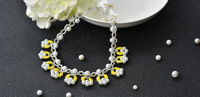 How to Make Chic 2-Hole Seed Beads Charm Necklace With White Pearl