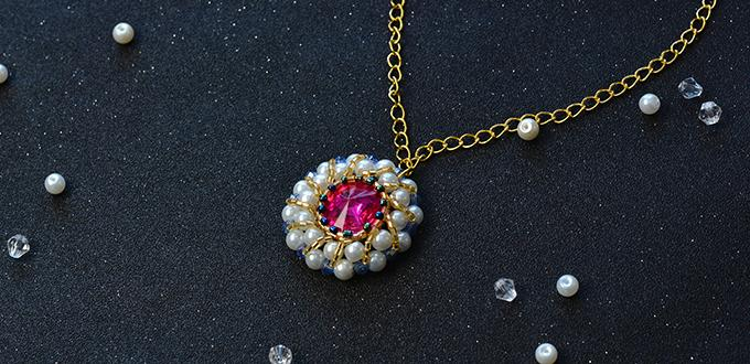 How to Make Delicate Pendant Necklace Decorated with Pearl and Rhinestone Cabochon
