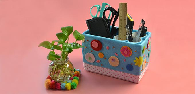 How to make a lovely desk organizer from recycled box and for Toilet paper roll jewelry box