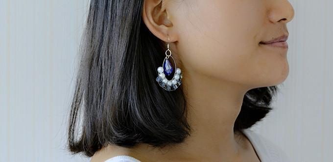How to Make a Pair of Simple Blue Crystal Hoop Drop Earrings for Summer