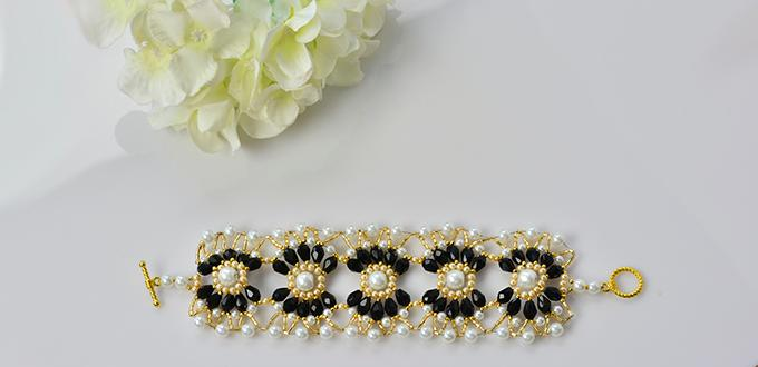 Pandahall Tutorial - How to Make a Handmade Black and White Pearl Beaded Flower Bracelet
