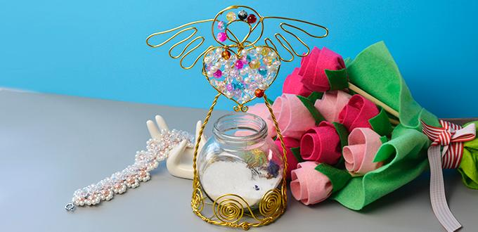 How to Make a Golden Wire Wrapped Angel Candle Holder with Beads for Home Decoration