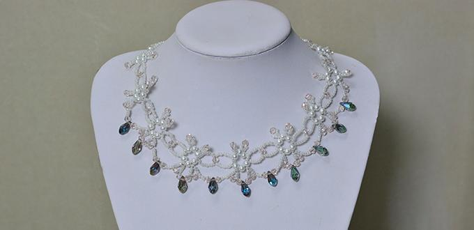 How to Make a Bling Crystal Flower Statement Necklace for Evening Party