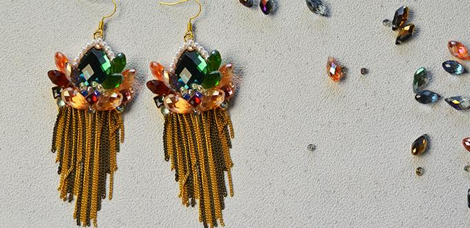 Pandahall Original Tutorial on How to Make Crystal Beaded Cluster Dangle Earrings with Chain