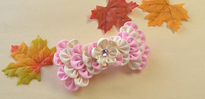 How to Make Easy Ribbon Petal Hair Clip with Rhinestone Cabochon