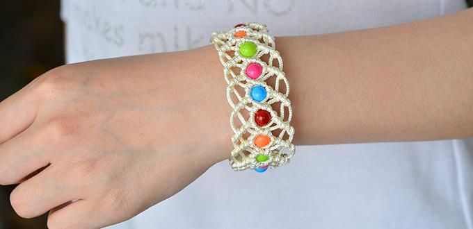 How to Make Colorful Braided Nylon Thread Friendship Bracelet with Round Acrylic Beads