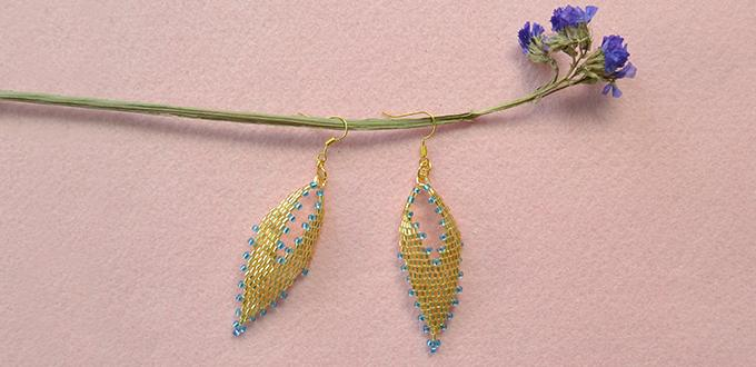 How to Make Golden Beading Leaf Earrings with Seed Beads