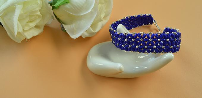 Pandahall Video Tutorial on Making a Blue 2-hole Seed Bead Flower Bracelet for Summer