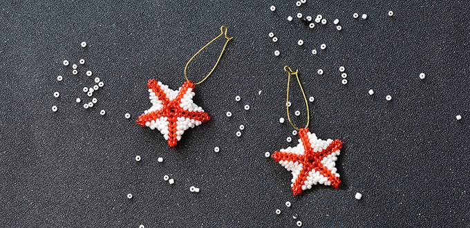 Detailed Pandahall Tutorial - How to Make a Pair of Red Seed Beaded Stitch Starfish Earrings