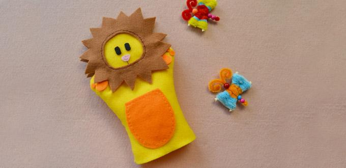 Easy Embroidery Tutorial - How to Make Homemade Yellow Felt Toy Gloves for Kids