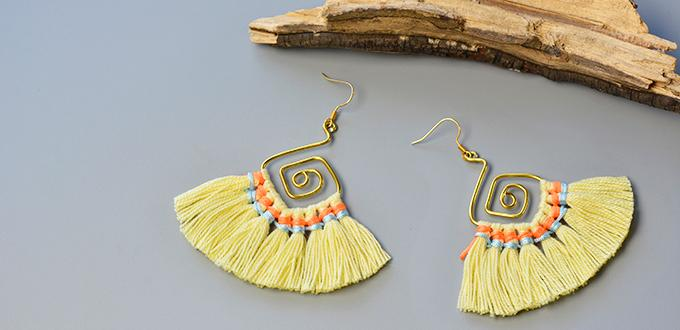 Pandahall Instruction on How to Make a Pair of Wire Dangle Earrings with Yarn Tassels
