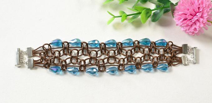 How to Make Wide Coffee Polyester Cord Braided Bracelet with Glass Beads
