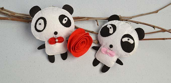 How to Make Handmade White and Black Felt Panda Hanging Ornaments