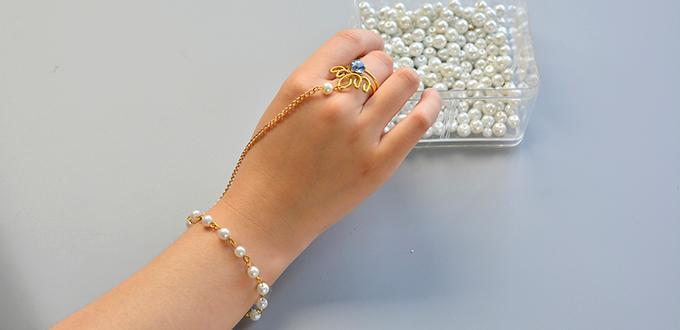 PandaHall Original DIY – How to Make a Slave Bracelet with Pearl Beads and Rhinestone