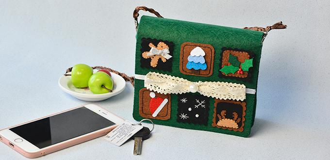 PandaHall Tutorial on How to Make a Dark Green Felt Stamp Haversack