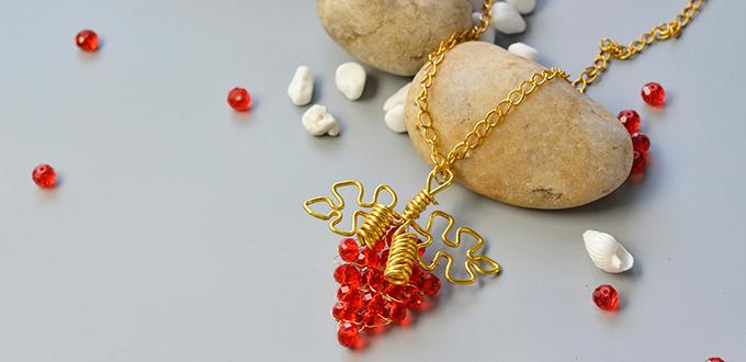 How to make wire wrapped grape pendant necklace with red glass how to make wire wrapped grape pendant necklace with red glass beads aloadofball Images
