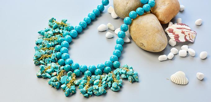 Pandahall Tutorial-How to Make Simple Bib Necklace with Turquoise Beads