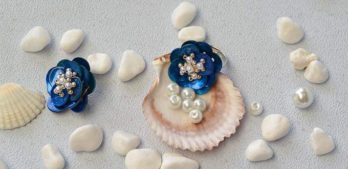 Pandahall Original DIY- How to Make Handmade Blue Button Flower Rings with Pearls and Seed Beads