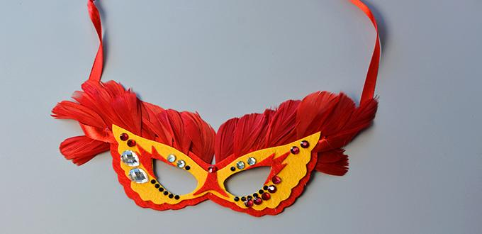 How to Make Cool Felt Eye Masks with Felt, Cabochons and Goose Feather Accessories