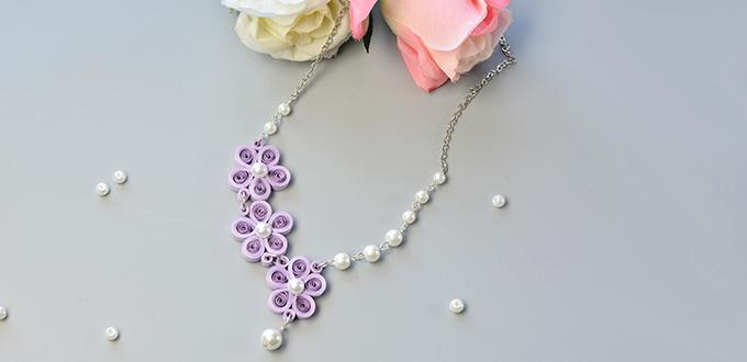 How to Make a Purple Quilling Paper Flower Necklace with White Pearl Beads Decorated