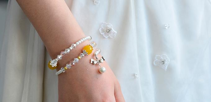 How to Make Wire Wrapped Bowknot Bracelet with Pearl Beads and Glass Beads