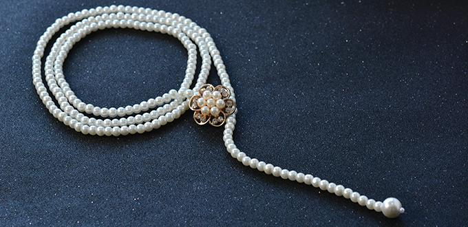 How to Make a Handmade Multi-strand White Pearl Bead Necklace at Home