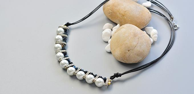 How to Make Black Leather Cord Pearl Necklace with Black Glass Beads