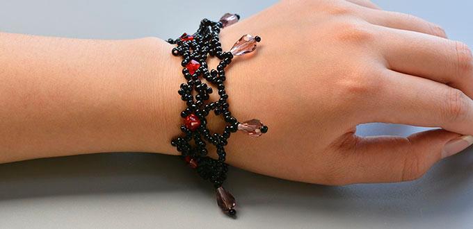 how to make a handmade black seed beaded weaving bracelets