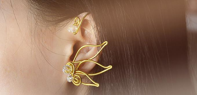 How to Make a Pair of Cool Golden Wire Wrapped Ear Cuffs for Girls