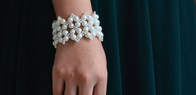 How to Make a Handmade White Pearl Bead Stitch Wide Bracelet