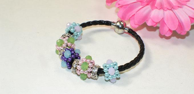 How to Make Gorgeous Flower Pearl Bracelet with Glass Beads